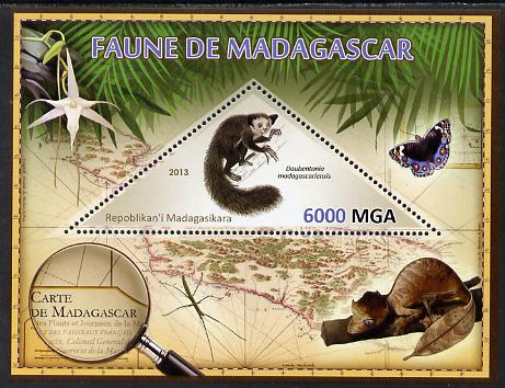 Madagascar 2013 Fauna - Aye-Aye perf sheetlet containing one triangular value unmounted mint