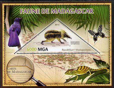 Madagascar 2013 Fauna - Streaked Tenrec perf sheetlet containing one triangular value unmounted mint