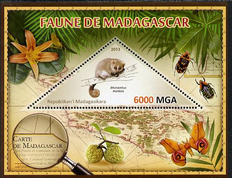 Madagascar 2013 Fauna - Gray Mouse Lemur perf sheetlet containing one triangular value unmounted mint