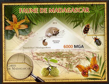 Madagascar 2013 Fauna - Gray Mouse Lemur imperf sheetlet containing one triangular value unmounted mint