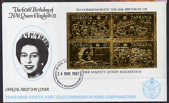 Tanzania 1987 Queen's 60th Birthday perf souvenir sheet containing the 4 values embossed in 22k gold foil (as SG MS 521) on cover with first day cancel