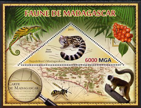 Madagascar 2013 Fauna - Malagasy Civet perf sheetlet containing one triangular value unmounted mint