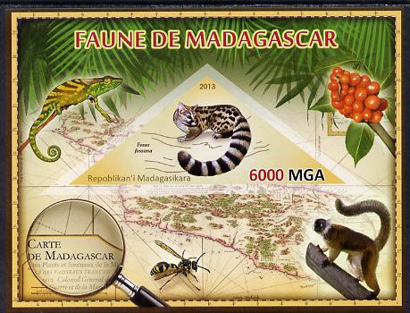 Madagascar 2013 Fauna - Malagasy Civet imperf sheetlet containing one triangular value unmounted mint