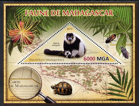 Madagascar 2013 Fauna - Ruffed Lemur perf sheetlet containing one triangular value unmounted mint