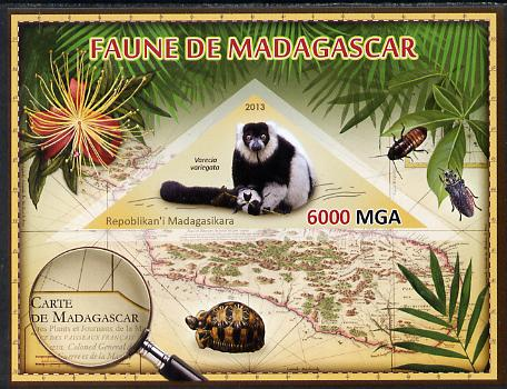 Madagascar 2013 Fauna - Ruffed Lemur imperf sheetlet containing one triangular value unmounted mint