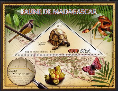 Madagascar 2013 Fauna - Angonoka Tortoise perf sheetlet containing one triangular value unmounted mint