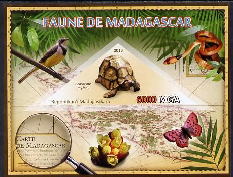 Madagascar 2013 Fauna - Angonoka Tortoise imperf sheetlet containing one triangular value unmounted mint