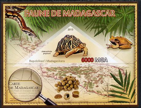 Madagascar 2013 Fauna - Madagascar Tortoise imperf sheetlet containing one triangular value unmounted mint