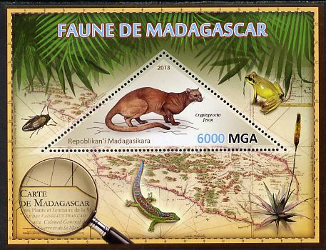Madagascar 2013 Fauna - Fossa perf sheetlet containing one triangular value unmounted mint
