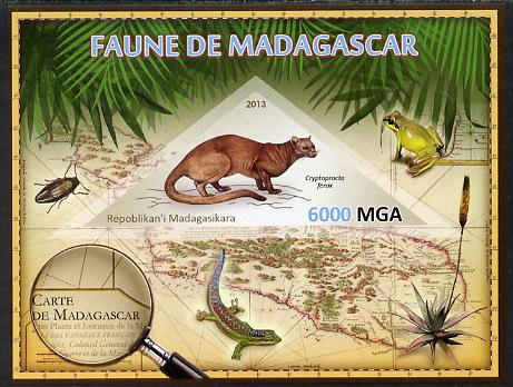 Madagascar 2013 Fauna - Fossa imperf sheetlet containing one triangular value unmounted mint