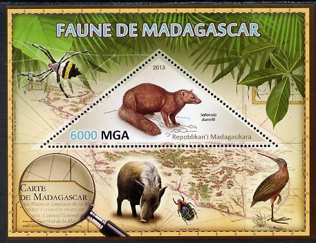 Madagascar 2013 Fauna - Salanoia Durrelli perf sheetlet containing one triangular value unmounted mint