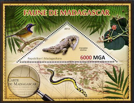 Madagascar 2013 Fauna - Nile Crocodile perf sheetlet containing one triangular value unmounted mint