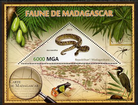 Madagascar 2013 Fauna - Boa Manditra perf sheetlet containing one triangular value unmounted mint