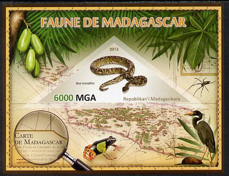 Madagascar 2013 Fauna - Boa Manditra imperf sheetlet containing one triangular value unmounted mint
