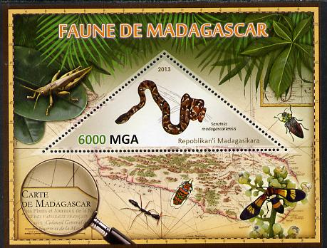 Madagascar 2013 Fauna - Madagascar Tree Boa perf sheetlet containing one triangular value unmounted mint