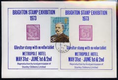 Exhibition souvenir sheet for 1973 Brighton Stamp Exhibition showing Gibraltar QV
