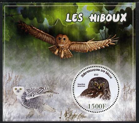Mali 2013 Owls perf sheetlet containing one circular value unmounted mint