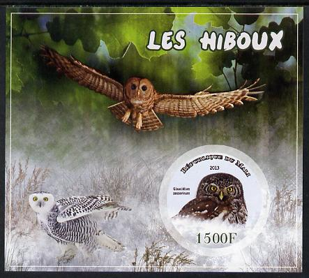 Mali 2013 Owls imperf sheetlet containing one circular value unmounted mint