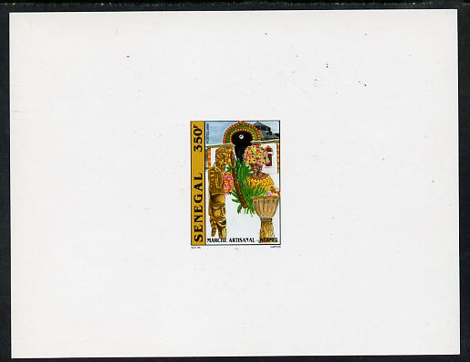 Senegal 2001 Craft Market 350f Carvings & Flower Seller imperf deluxe die proof in issued colours on white card as SG 1636