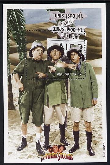 Mongolia 1998 The Three Stooges (Comedy series) perf m/sheet #5 containing 1 value (wearing Pith Helmets) unmounted mint, SG MS 2697e