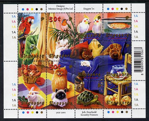 Singapore 2001 National Stamp Exhibition sheetlet containing set of 10 values unmounted mint SG 1103-12