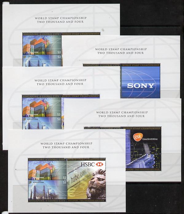 Singapore 2004 Singapore - A Global City 3rd series set of 5 m/sheets each containing set of 2 values plus different double stamp-sized labels unmounted mint as SG 1405-06, stamps on , stamps on  oil , stamps on tourism, stamps on