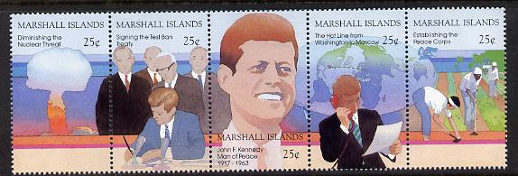 Marshall Islands 1988 25th Anniversary of Assassination of John F Kennedy strip of 5 unmounted mint SG 194-98, stamps on kennedy, stamps on usa presidents, stamps on death, stamps on nuclear, stamps on atomic, stamps on peace, stamps on telephones