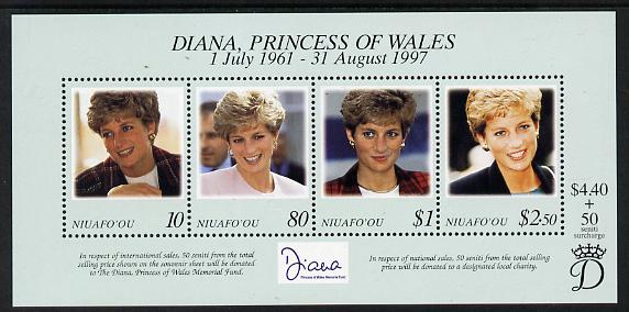 Tonga - Niuafo'ou 1997 Princess Diana Commemoration perf m/sheet unmounted mint SG MS 275
