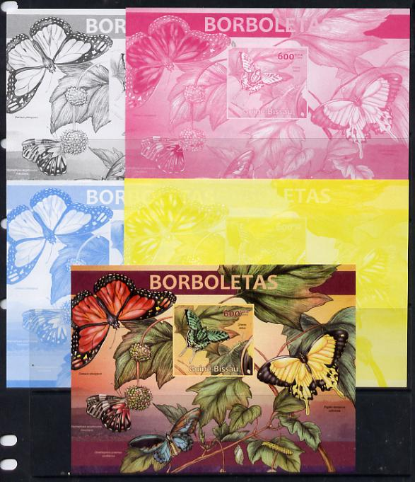 Guinea - Bissau 2013 Butterflies #04 m/sheet - the set of 5 imperf progressive proofs comprising the 4 individual colours plus all 4-colour composite, unmounted mint