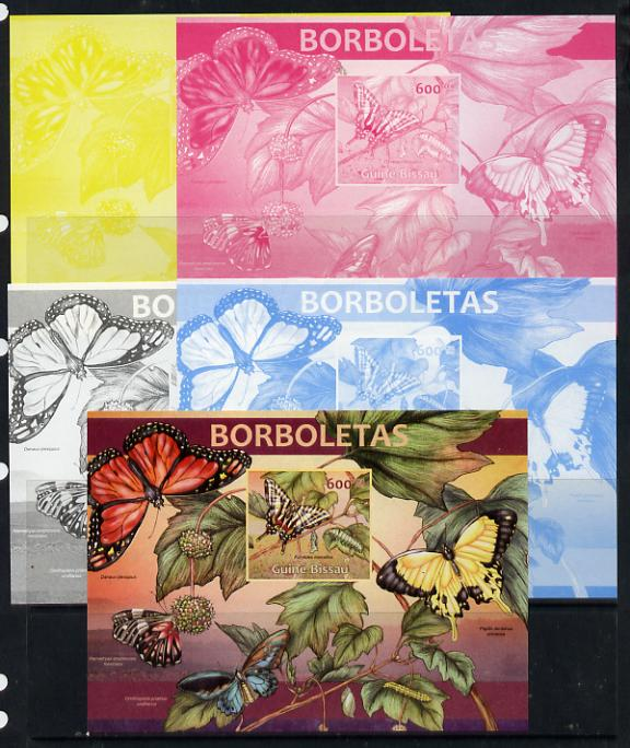 Guinea - Bissau 2013 Butterflies #05 m/sheet - the set of 5 imperf progressive proofs comprising the 4 individual colours plus all 4-colour composite, unmounted mint