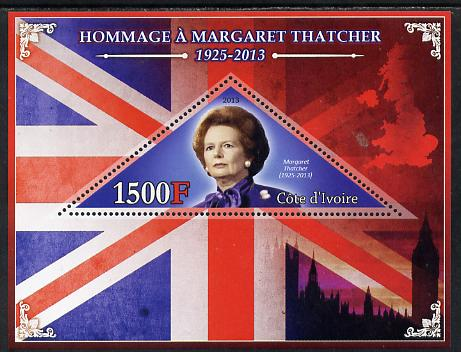 Ivory Coast 2013 Tribute to Margaret Thatcher perf s/sheet containing triangular value unmounted mint