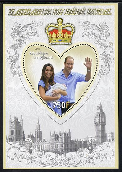 Djibouti 2013 Birth of Royal Baby (George) perf s/sheet containing Heart Shaped value unmounted mint