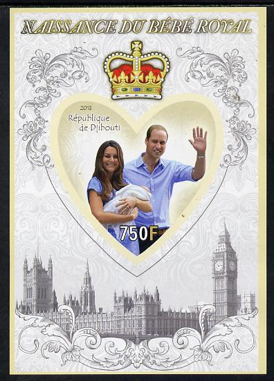 Djibouti 2013 Birth of Royal Baby (George) imperf s/sheet containing Heart Shaped value unmounted mint