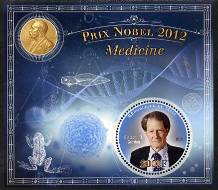 Mali 2013 Nobel Prize Winners for 2012 - Sir John B Gurdon(Medicine) perf s/sheet containing circular value unmounted mint