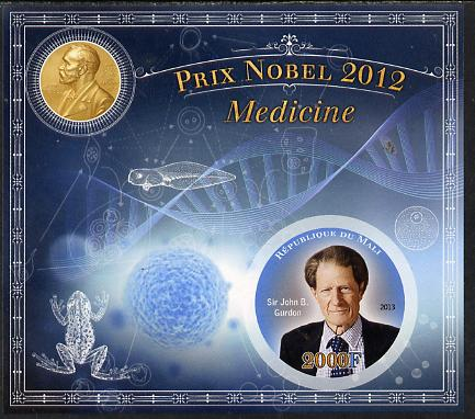 Mali 2013 Nobel Prize Winners for 2012 - Sir John B Gurdon(Medicine) imperf s/sheet containing circular value unmounted mint