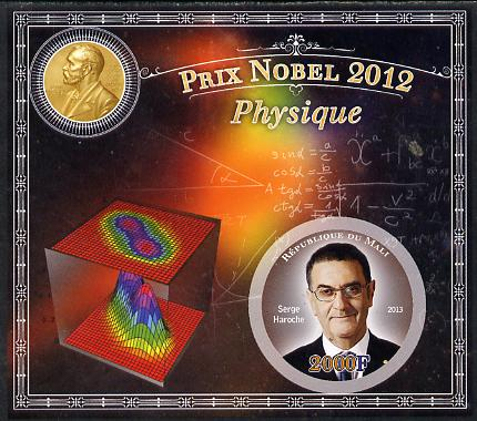 Mali 2013 Nobel Prize Winners for 2012 - Serge Haroche (Physics) imperf s/sheet containing circular value unmounted mint
