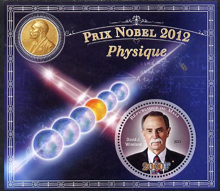 Mali 2013 Nobel Prize Winners for 2012 - David J Wineland (Physics) perf s/sheet containing circular value unmounted mint