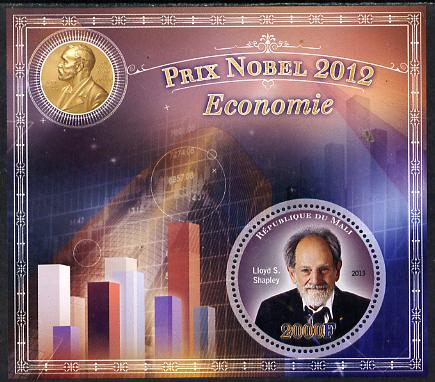 Mali 2013 Nobel Prize Winners for 2012 - Lloyd S Shapley (Economics) perf s/sheet containing circular value unmounted mint