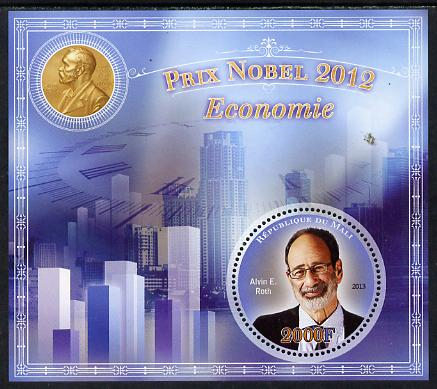 Mali 2013 Nobel Prize Winners for 2012 - Alvin E Roth (Economics) perf s/sheet containing circular value unmounted mint