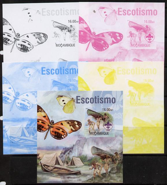 Mozambique 2013 Scouting & Butterflies #4 m/sheet - the set of 5 imperf progressive proofs comprising the 4 individual colours plus all 4-colour composite, unmounted mint