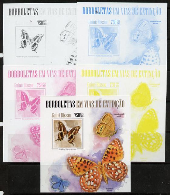 Guinea - Bissau 2013 Butterflies #07 m/sheet - the set of 5 imperf progressive proofs comprising the 4 individual colours plus all 4-colour composite, unmounted mint