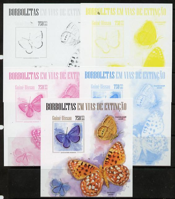 Guinea - Bissau 2013 Butterflies #08 m/sheet - the set of 5 imperf progressive proofs comprising the 4 individual colours plus all 4-colour composite, unmounted mint