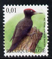 Belgium 2002-09 Birds #5 Black Woodpecker 0.01 Euro unmounted mint