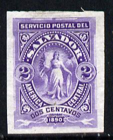 El Salvador 1890 2c imperf colour trial proof in violet on thin paper without gum as SG 31