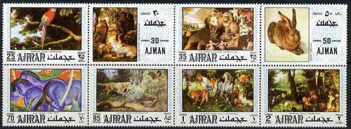 Ajman 1971 Paintings of Animals or Birds perf set of 8 unmounted mint (Mi 1099-1106A)