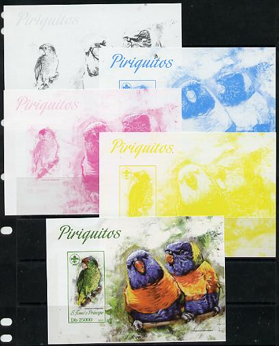 St Thomas & Prince Islands 2013 Parrots #1 with Scout Logo - the set of 5 imperf progressive proofs comprising the 4 individual colours plus all 4-colour composite, unmounted mint