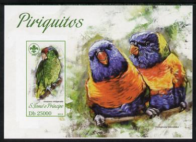 St Thomas & Prince Islands 2013 Parrots #2 with Scout Logo imperf m/sheet unmounted mint. Note this item is privately produced and is offered purely on its thematic appeal