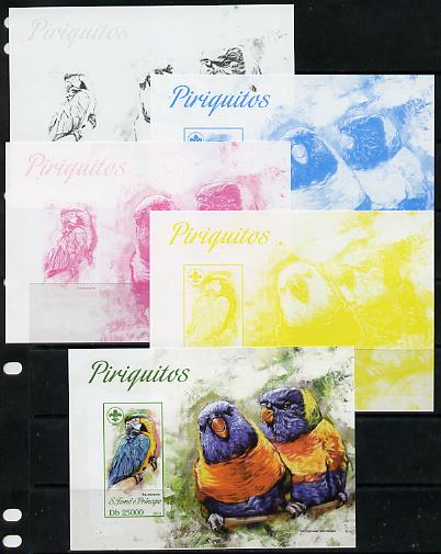 St Thomas & Prince Islands 2013 Parrots #2 with Scout Logo - the set of 5 imperf progressive proofs comprising the 4 individual colours plus all 4-colour composite, unmounted mint