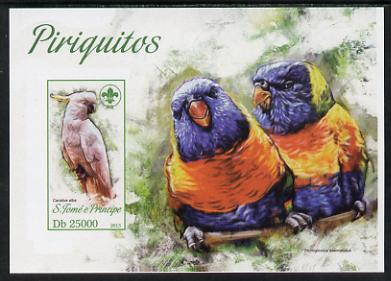 St Thomas & Prince Islands 2013 Parrots #3 with Scout Logo imperf m/sheet unmounted mint. Note this item is privately produced and is offered purely on its thematic appeal
