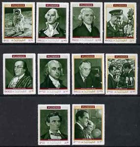 Fujeira 1970 Famous Americans perf set of 10 unmounted mint, Mi 485-94